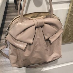 Valentino patent powder blush hand bag with bow